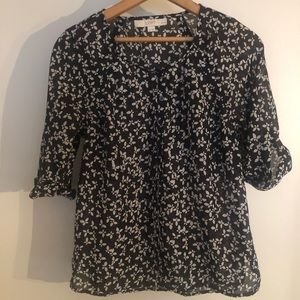 Loft Blue and White Butterfly Print Sheer Blouse